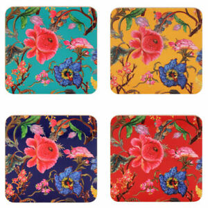 Set of 4 Coasters William Morris Anthina Bright Floral Flowers Assorted Colour