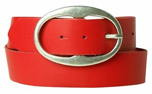 "FRONHOFER Women's belt, real leather, large oval antique silver buckle, 1.5""/4cm"