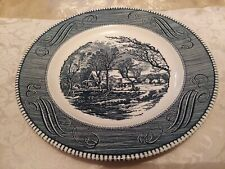 Currier and Ives Old Grist Mill Dinner Plate Blue Royal China USA