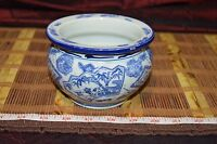 "Asian Porcelain Blue & White Foo Dog, Floral, Design Planter/bowl 5""x3 1/2"""