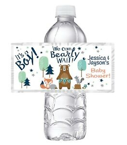 20 WOODLANDS FRIENDS BEARLY WAIT BABY SHOWER PARTY FAVORS WATER BOTTLE LABELS