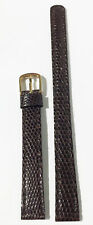 Seiko Vintage 11Mm Brown Genuine Leather Strap Band Gold Tone Buckle Nos Lizard