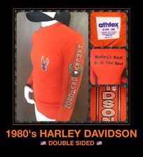 Vtg 80s Eagle Harley Davidson Motorcycle THIN PAPER LABEL Long Sleeve t-Shirt S