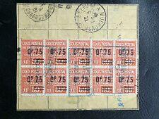 FRANCE COLIS POSTAUX : 1928/29 YVERT N° 91 + 91a BLOC DE 10 TIMBRES Oblitéré TBE
