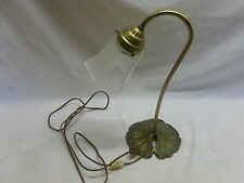 Vtg Brass Lilly Pad Goose Neck Table Lamp Light W/ Shade Shabby Cottage Decor