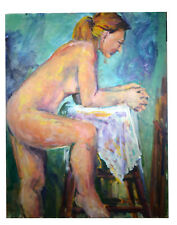 "Vintage 28"" Oil Painting Canvas Nude Woman Sitting Evelyn McElroy Wall Art"