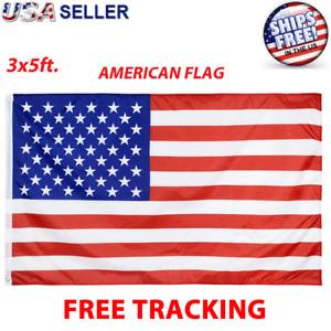 3' x 5' FT USA AMERICAN Flag US U.S. Polyester Stars Brass Grommet United States