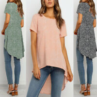 ❤️Womens Short Sleeve Irregular Tunic Tops Ladies Casual Floral Print Blouse Tee