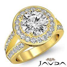 Stunning Round Diamond Engagement Halo Ring GIA F VS1 18k Yellow Gold 2.17ct