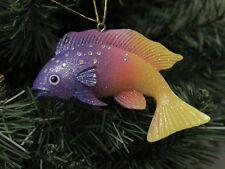 Rainbow Christmas Fish Ornament, Purple & Yellow