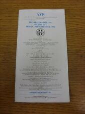 20/09/1996 Horse Racing Card: Ayr - Western Meeting 2nd Day (results noted). Foo