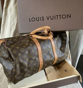 VINTAGE LOUIS VUITTON HAND TRAVEL LUGGAGE DOUBLE LEATHER HANDLES