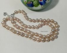 Genuine Silver 7-8 mm Circle freshwater pearls necklace L47cm free earing Purple