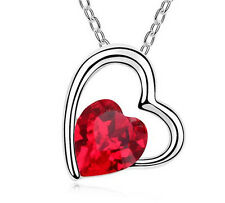 Fashion Womens Heart Red Crystal Rhinestone Silver Chain Pendant Necklace  NEW