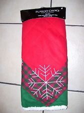 48 IN RED RED/GREEN FLEECE SNOWFLAKE PLAID LINED TREE SKIRT CHRISTMAS DECORATION
