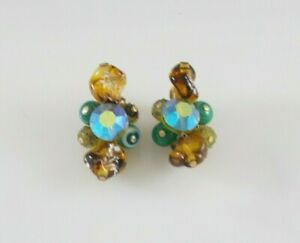 Vintage Clip Earrings Art Glass Hand Wired Multi Color