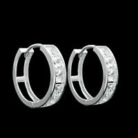 2.50 CT Princess Created Diamond Huggie Hoop Earrings Solid 14K White Gold VVS1