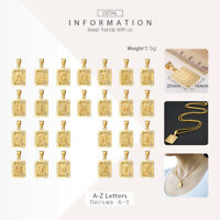"Gold Filled Square Initial Letter A-Z Pendant Necklace 2mm 18-22"" Box Link Chain"