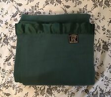 New! Vintage Chatham 100% Wool / Satin Forest Green Blanket 66 X 96 Twin / XL