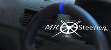 FOR PEUGEOT 206 HDi SW CC BLACK LEATHER STEERING WHEEL COVER + ROYAL BLUE STRAP