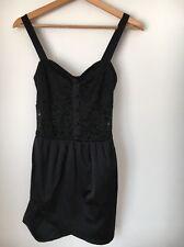 Motel size 10 Black Strappy Lace Satin Feel Mini dress <T5327