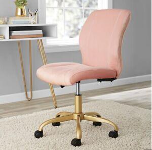 Plush Velvet Wheeled Rolling Padded Adjustable Height Office Chair Pearl Blush