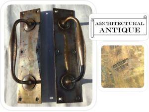 Pair Antique Victorian Welsh Chapel Brass Door Handles - GIBBONS Wolverhampton