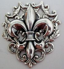 FRENCH FLEUR DE LIS LYS Sterling Silver pltd Brooch Pin Game of Thrones ROYALITY