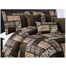 Safari Cal King Comforter Set Animal Print Patchwork Bedding Leopard Tiger Zebra
