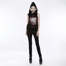 Authentic Punk Rave Gothic Hooded Pentagram Printed Loose Sleeveless T-Shirt Top