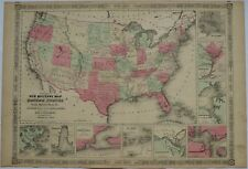 1864 United States Military map by Johnson - large - Antique Civil War era forts