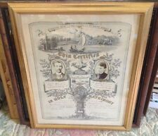 Antique Framed 1894 Certificate of Holy Matrimony with Bride & Groom Photograph