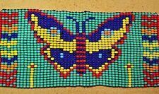 Glass Seed Bead South American Butterfly Loom Work Bracelet, Colombian Beadwork