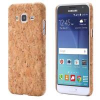Samsung Galaxy J3 (2016)  CORCHO FUNDA MADERA NATURAL HARD CASE CASO COVER CAJA