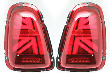 LED Tail Lights For 2010-2013 Mini Cooper R56 R57 R58 R59 - UNION JACK RED Clear