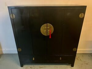 A Rare & Beautiful Large Oriental Black lacquered Cabinet. 20th C