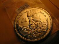 Canada 1958 Silver Dollar Totem Pole Death Dollar IDJ312.