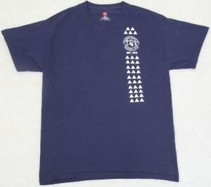 Hanes Tagless Tee Shirt Medium Blue White Cotton Men's Solid Graphic Outrigger