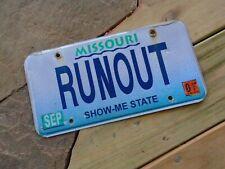 Missouri RUNOUT Novelty License Plate, vanity