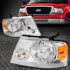 For 04-08 Ford F150 Lincoln Mark Lt Chrome Housing Amber Corner Headlight Lamps