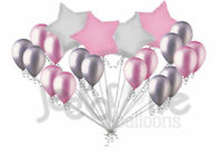 20 pc Pink & Silver Stars & Latex Balloons Party Decoration Birthday Baby Girl