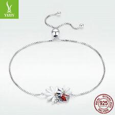 Fine 925 Sterling Silver Bracelet Ladybug Daisy Charm Chain Crystal Girl Jewelry