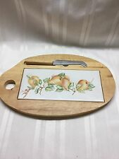 "Vintage Cheese Board w/ Ceramic Insert and Magnetic Knife - Pears - 12 1/2"" x 8"""