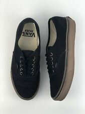RARE Vans Authentic Black Textured Hemp Brown Gum Skate Shoes Men Sz 7 Women 8.5