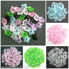 50 FROSTED LUCITE ACRYLIC BLUEBELL FLOWER BEADS BEAD CAPS 12mm Choice of colours