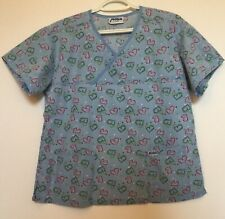 Nurse Scrub Top Size Medium (on tag) Light Blue wth Hearts Pattern