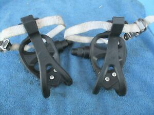 VP Platform Pedals Small Toe Clips & Straps Take-offs Very Good Condition Black