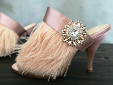 Zara nude blush pink embellished HIGH HEEL MULES FEATHER BROOCH CRYSTAL 8 41