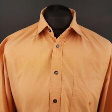 Paul Smith Mens Vintage THICK Shirt MEDIUM Long Sleeve Orange Regular Fit Cotton
