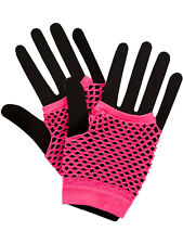 Neon Pink Hot Colours Short Fish Net Fingerless Gloves 80's Party Wear Goth